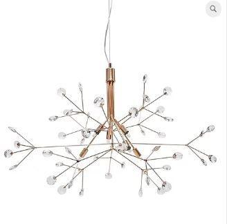 Lustre Spring Metal e Cristal Ø88x60cm 6xG9 LED 5W Bivolt Cor Cobre Casual Light LT637