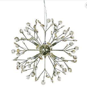 Lustre Spring Metal e Cristal Transparente Ø53x53cm 6xG9 Led 5W Cor Dourado Casual Light LT638-DO