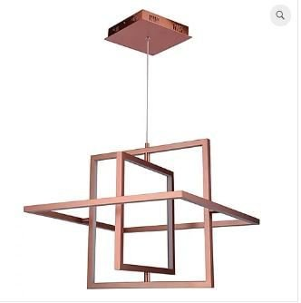 Pendente Square 58x57x10cm  LED 32W 3000K 50cm Cor Cobre Casual Light PD1243-CO