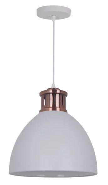 Pendente Askin Metal Ø30x33,5cm 1xE27 40W Bivolt Cor Branco Casual Light QPD1161-BR