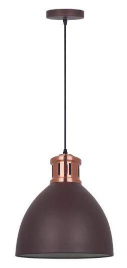 Pendente Askin Metal 30x33,5cm 1xE27 40W Bivolt Cor Marrom Casual Light QPD1161-MR