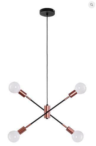 Pendente Bolt Metal Ø50x33cm 4xE27 40W Bivolt Cor Preto e Cobre Casual Light QPD1362