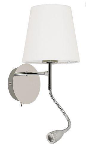 Arandela Cosy Metal/Tec Cromado 1xE27+LED2W 3000K 16x30cm Quality QAR1337CR
