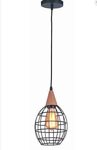 Pendente Filum Metal 15x25cm 1xE27 40W Cor Preto e Madeira Casual Light ID41087