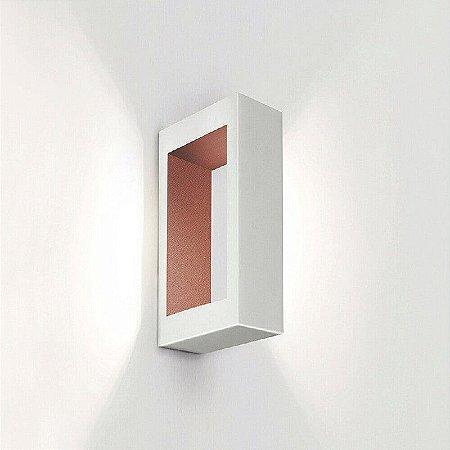 Arandela Portara LED 6W 2700K 220V 100X250X51mm Branco e Cobre Newline SN10123BTCO