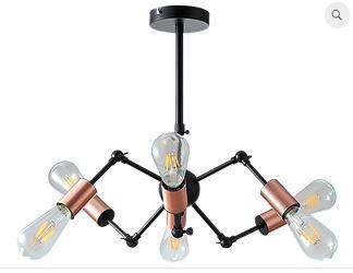 Pendente Torch Metal 44x17,5cm 6xE27 40W Cor Cobre Casual Light QPD1368
