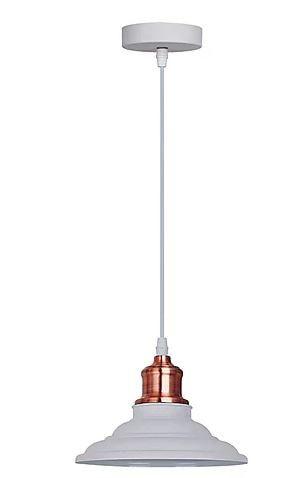 Pendente Vega Metal Ø20x16cm 1xE27 40W Bivolt Cor Branco e Cobre Casual Light QPD1163-BR