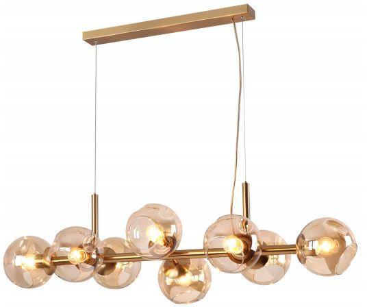 Pendente Linear Metal Dourado com Vidro Champanhe 98x56cm 8xE27 JLR Iluminação JL9050/100God