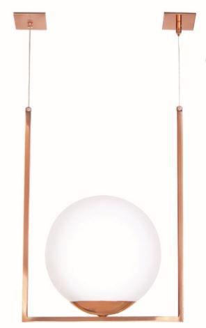 Pendente Old Artisan Curva Retangular Esfera Bola De Vidro 1 - E27 12x20xx32cm Old Artisan PD5298