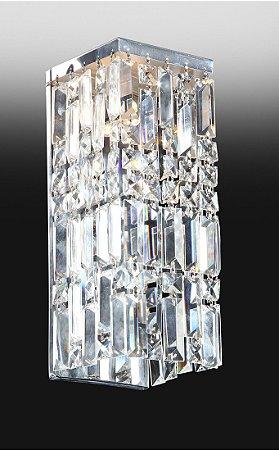 Arandela Retangular de Metal e Cristal Transparente com acabamento Duplo 33x15x13cm Old Artisan AR-4395