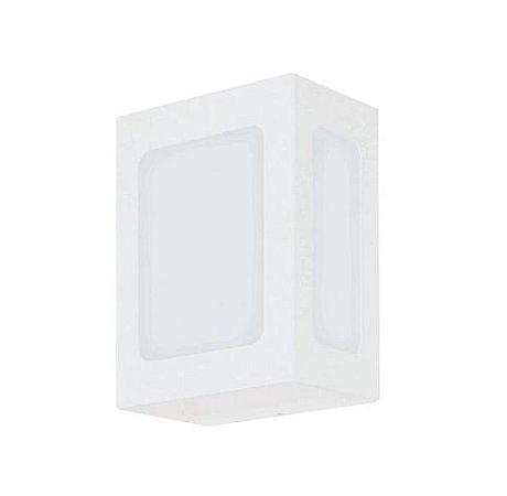 Arandela Retangular Alumínio e Vidro Fosco 13x09x18cm 1xE27 LED Bulbo A60 Itamonte Nac 229
