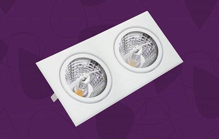 Luminária Light Duo Quadrada PAR20 Duplo Soquete Porcelana  Embutido Branco 11x21cm BellaLux 190140DUO