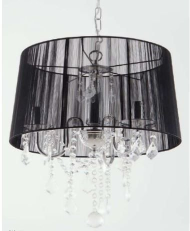 Lustre Judith Preto Lustre Cromado +Tecido Preto + Cristal Cód 4002 Bivolt 3 Lamp.E14 40x50cm Adn+ 4003BK