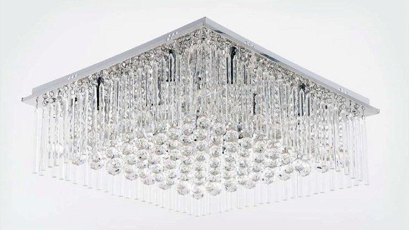 Plafon Deborah Metal Cromado+Cristal Cód: 2002 220V 16 Lamp.G4 + Controle Remoto 60x60x33cm Adn+ SYF16002