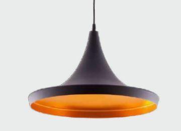 Pendente Montana Metal Preto Fosco Com Dourado Cód: 1104  Bivolt 1 Lamp.E-27 35x20cm Adn+ SA1538