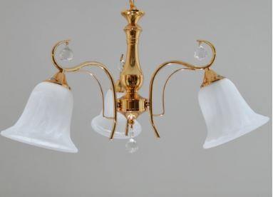 Lustre Ellen Vidro e Cristais 60x35cm 3xE27 Bivolt Dourado Adn+ D-39072/3FG