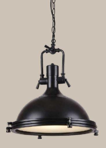 Pendente Maritimo Metal Preto+Acrilico Bivolt Cód:1400 1Lâmp. E27 40x48cm Adn+857