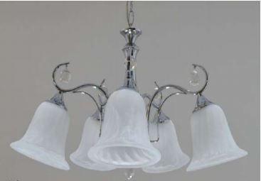 Lustre Ellen Cromado 5 Braços com Cupula de Vidro+Cristais Bivolt E27 Cód:1287 60x35cm Adn+ D-39072/5CR