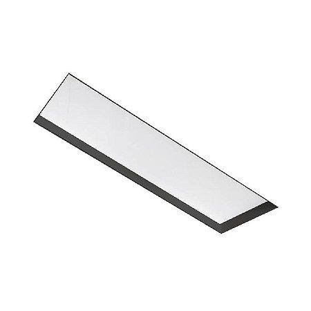 Painel Embutir No Frame Retangular 63x9,6cm 2xT8 60cm Metal e Acrílico Cor Preto Newline IN60211PT