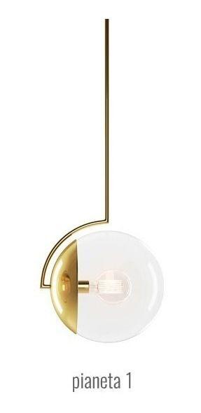 Pendente Pianeta 1 32cmx120cmx25cm 1XE27 Cor Latonado (Dourado) Klaxon 3140001DOU