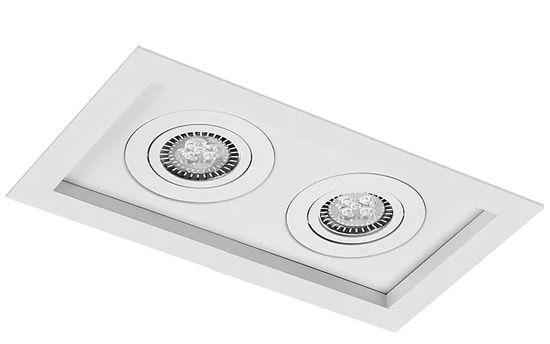 Embutido Recuado Micro Borda Quadrado Metal PAR20 2XE27 21x11,5x04cm Impacto 1011/2