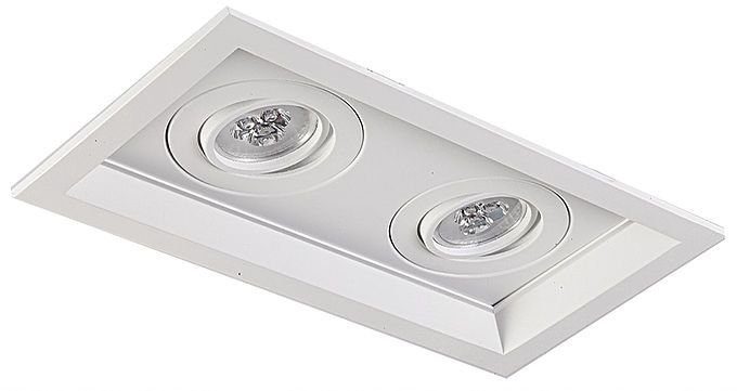 Luminária Embutir Recuado Chanfrado Retangular Duplo PAR20 27x15,5cm Metal Impacto 1041/2