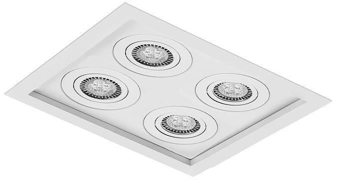 Luminária Embutir Recuado Micro Borda Quadrado Quádruplo PAR16/Dicroica 25x25cm Metal Impacto 1010/4