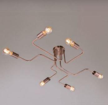 Plafon Electra Alumínio ø65x80x13cm 6xE27 LED Bulbo A60 ou LED Filamento  Itamonte Nac 4280/6