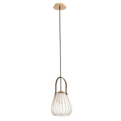 Pendente Lamp Metal Vidro e Couro Sintético 18cmx22cm 1 x 40W G9 Cor French Gold Branco e Marrom Bella Iluminação ML002G