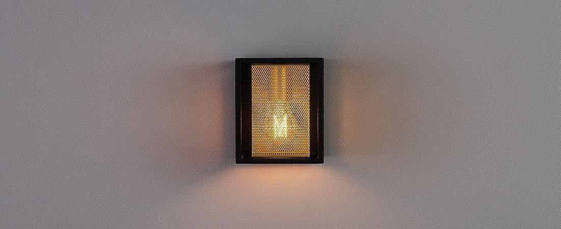 Arandela Grifty 1xE27 Filamento - Aço -  Preto e Dourado Stella SD2110