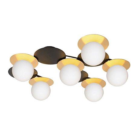 Plafon Biene Metal e Vidro 61x49x14,7cm 6xG9 Led 5W Bivolt Cor Dourado e Preto Casual Light PL1405DO