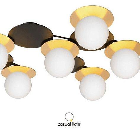 Plafon Biene Alumínio e Difusor de Vidro 61x49x14,7cm 6xG9  127V / 220V  Cor Dourado Casual Light PL1405DO