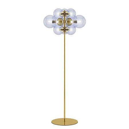 Luminária  de Chão Dawn 1 12xG9 127v/220V 30x128cm Globo Transparente Acabamento Dourado Klaxon Brilho 03220030DOUB
