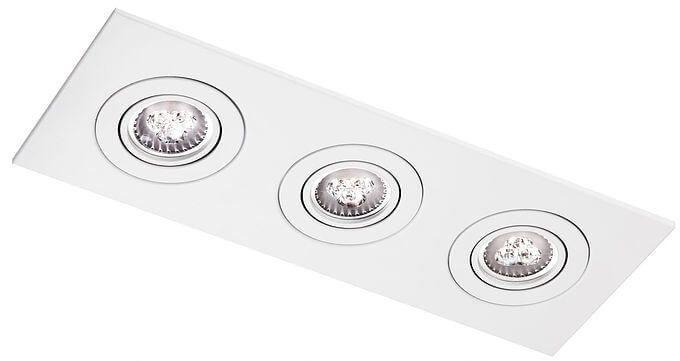 Embutido Face Plana Retangular Triplo PAR16/Dicroica 13x35x13cm Acabamento Branco Impacto M553