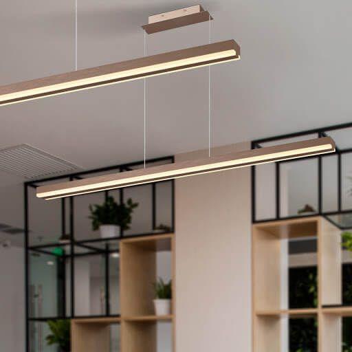 Pendente Office Alumínio e Acrílico  5,3x121x200cm  Led 48W 3000K Cor Marrom Fosco Mais Luz PE-128/48.120MF