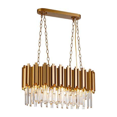 Pendente Retangular Metal e Cristais 28,5x89x33cm 12xE14 Cor Dourado Arquitetizze PD9312-12.000