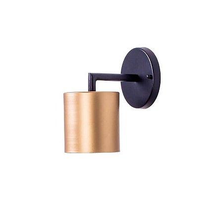 Arandela Cilindro Metal 10x16x17,5cm 1xG9 Led Cor Preto/Gold Foco Metallo AR 117/10