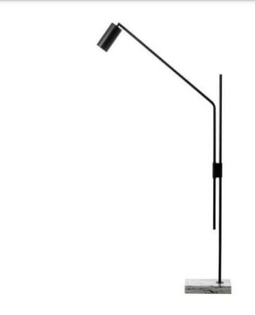 Coluna Cilindro Articulada Metal e Mármore 65x15x128cm 1xGU10 Led Cor Preto Foco Metallo CO 317