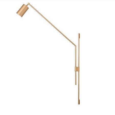Coluna Articulada Cilindro de Parede Metal 65,5x115,5x63cm 1xGU10 Led Cor Gold Foco Metallo CO 313
