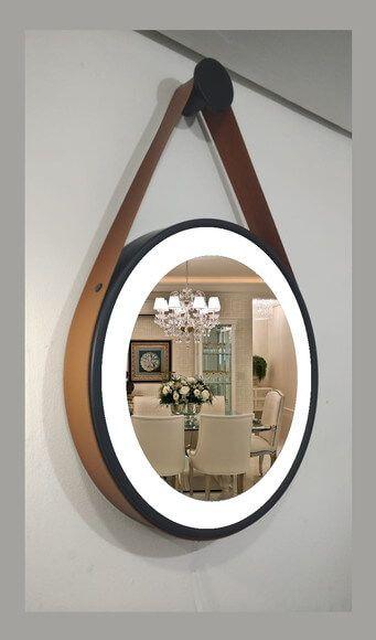 Espelho Marigold Ligth com Led integrado 3000k/4000k Ø60cm Moldura Preta Cinta de Couro Marrom DNA ESPE-60-PT-LED