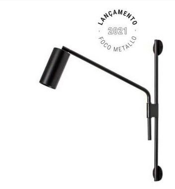 Arandela Cilindro Articulada Metal 42x50cm 1xGU10 LED Foco Metallo AR 127