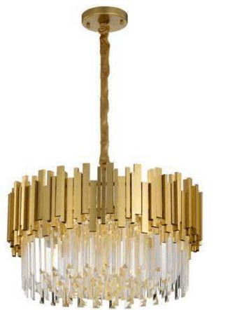 Pendente Fancy 60cm 12xG9 25W Dourado e Cristais K9 Transparentes Skylight SKY-3013