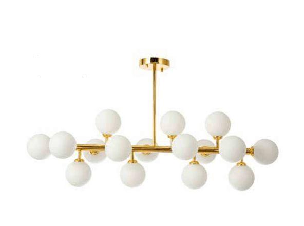 Pentente Cotton Metal E Vidro Leitoso 100x95cm 16xG9 25W Cor Dourado Skylight SKY-3027LT