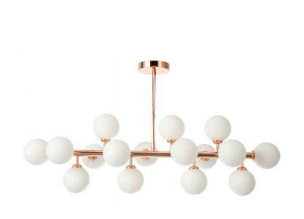 Pentente Cotton Metal E Vidro Leitoso 100x95cm 16xG9 25W Bivolt Cor Rose Gold Skylight SKY-3027-1LT