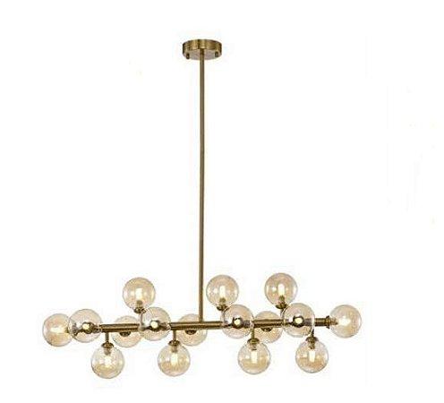 Pentente Cotton Metal E Vidro Âmbar 100x95cm 16xG9 25W Bivolt Cor Bronze Skylight SKY-3027-2AB