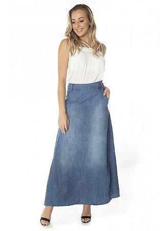 Saia Jeans Midi Assimétrica