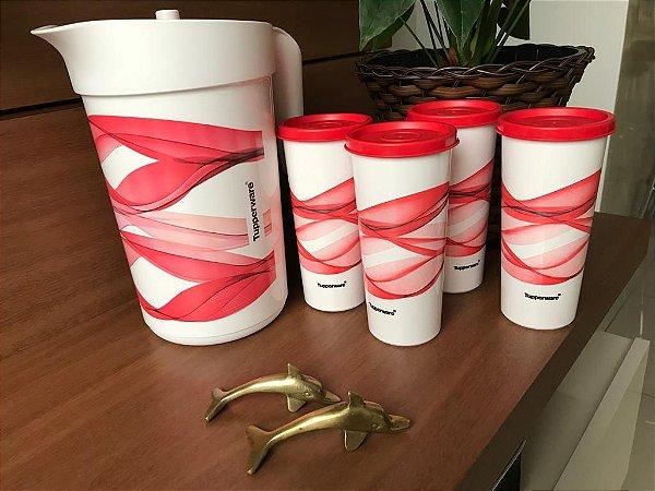 Conjunto Ilumina Alegria com uma jarras de 2litros e quatro copos de 300 ml