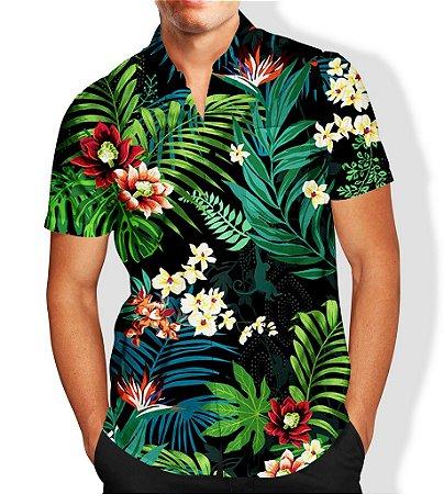 32a4169d86 Camisa Social Lançamento Masculina Full Estampada Folhas