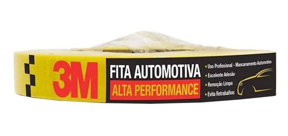 Fita Crepe 3m Amarela Alta Performance (18mm x 40 metros)