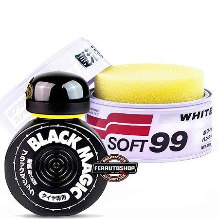 Kit Cera de Limpeza e Espelhamento White Cleaner 350g + Pretinho para Pneus Black Magic 150ml - Soft99